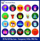 Flat 'Gift Box Icon' Set (Digital Clip Art)