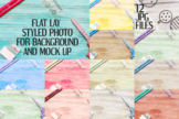 Flat Mock Up Bundle - Stationery on wood background styled photo