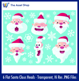 Flat 'Santa Claus Heads' Set (Digital Clip Art)