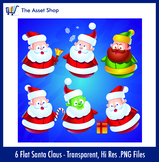 Flat 'Santa Claus' Set (Digital Clip Art)