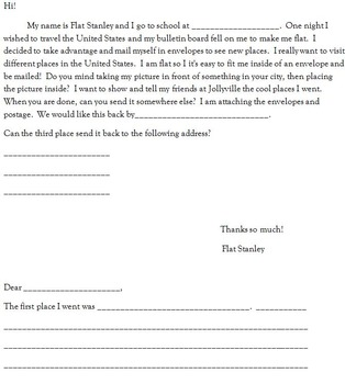 Flat Stanley, letter writing