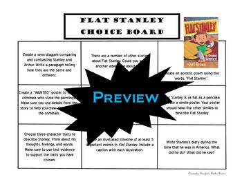 Flat Stanley Choice Board Novel Study Activities Menu Book Project with Rubric