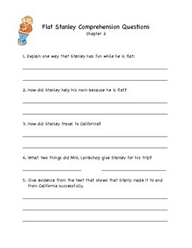 Flat Stanley Comprehension Chapter Quizzes