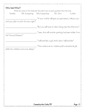 """Flat Stanley Comprehension, Vocabulary, and """"Quotation Marks"""" Pack"""