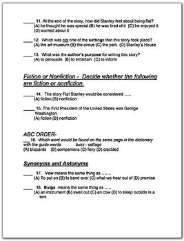 Flat Stanley Comprehension Worksheets