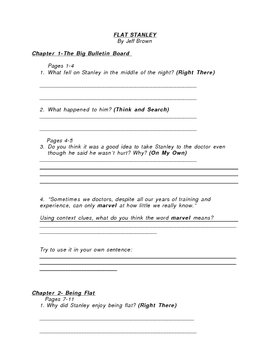 Flat Stanley Guided Reading Packet