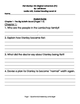Flat Stanley His Original Adventure #1- Question and Answer Sheet