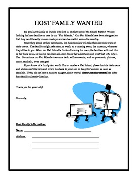 Flat Stanley Host Family Letter by Cappy's Creations | TpT