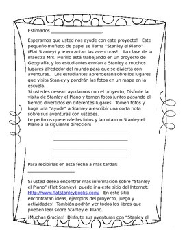 Editable Flat Stanley Letter To Parents (Spanish)