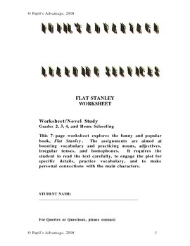 Flat Stanley Literature Worksheet