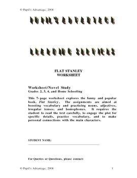 Flat Stanley Literature Worksheet