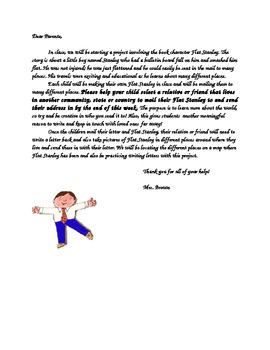 Flat Stanley Project Parent Letter
