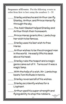 Flat Stanley: Stanley and the Magic Lamp (Brown) Novel Study / Comprehension