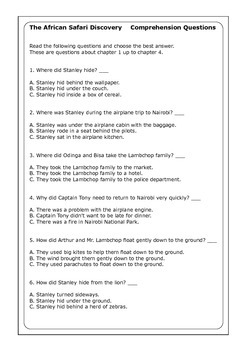 """Flat Stanley """"The African Safari Discovery"""" worksheets"""