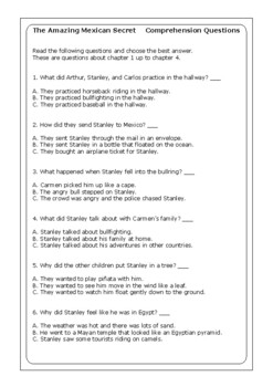 "Flat Stanley ""The Amazing Mexican Secret"" worksheets"