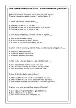 "Flat Stanley ""The Japanese Ninja Surprise"" worksheets"