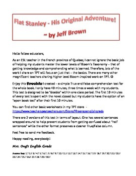 Flat Stanley comprehension test