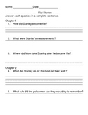 Flat Stanley guided reading comprehension packet