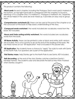 Flat Stanley's Christmas Adventure Novel Study No Prep Worksheets Activities