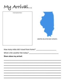 Flat Traveler Journal for USA State Illinois