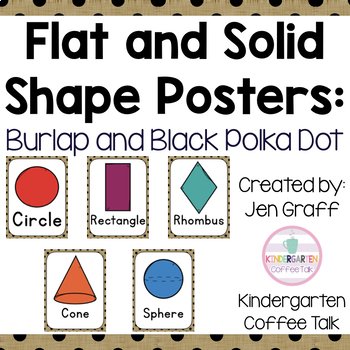 Flat and Solid Shape Posters: Burlap and Black Polka Dots