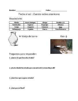 Flecha al sol - Vocabulary and Comprehension Questions in Spanish