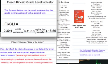 Flesch Kincaid Grade Level Indicator activity