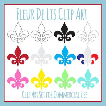 Fleur De Lis Clip Art Set for France Themed Work for Commercial Use