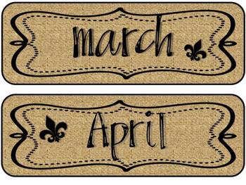 Fleur de Lis Chic Calendar Headers and Numbers {Burlap & Black}