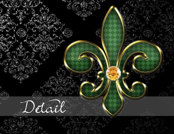 Fleur de Lis Jewels and Gems Digital scrapbook kit clipart backgrounds