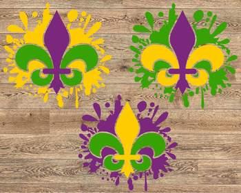 Fleur de Lis Mask Mardi ink Splash Gras SVG Louisiana Fat Tuesday Blood 1262s