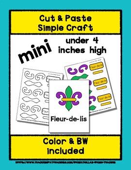 Fleur-de-lis - Cut & Paste Craft - Mini Craftivity for Pre-K & Kindergarten