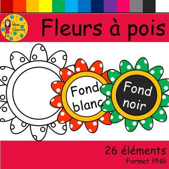 Fleurs à pois - Clip arts - Dotted flowers