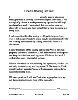 Flex Seating Parent Letter and Student Contract- High School