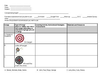 Flexible Grouping Planning Sheet