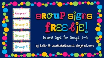 Flexible Grouping Polka Dot Signs / For Up to 8 Groups