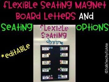 Flexible Seating Board Letters and Seat Options -Editable