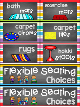 Flexible Seating Chart Chalkboard And Rainbow Stripe Theme