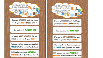 Flexible Seating Choice Board Cards Camping Theme