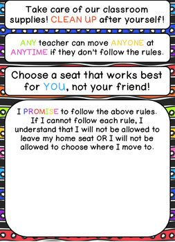 Flexible Seating Classroom Rules