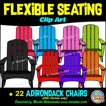 Flexible Seating Clip Art for Teachers - Adirondack Chairs