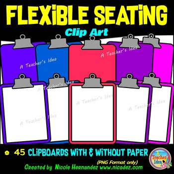 Flexible Seating Clip Art for Teachers - Clipboards