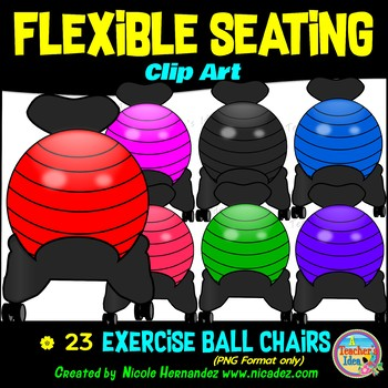 Flexible Seating Clip Art for Teachers - Exercise Ball Chairs