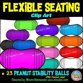 Flexible Seating Clip Art for Teachers - Peanut Stability Balls