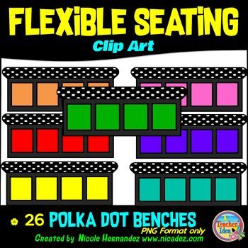 Flexible Seating Clip Art for Teachers - Polka Dot Benches