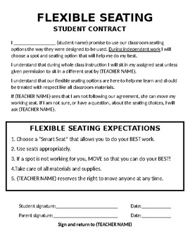 Flexible Seating Contract Template