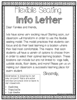 Flexible Seating Contract and Info Letter FREEBIE
