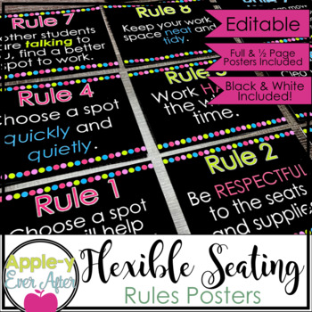 Flexible Seating EDITABLE Rule POSTERS