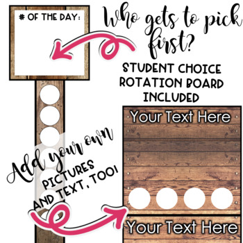 Flexible Seating EDITABLE Shiplap Choice Board Chart