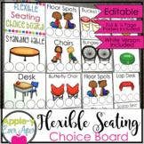 Flexible Seating EDITABLE Choice Board and Rule Poster Bun